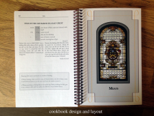 Layout of spiral bound cookbook for religious organization.