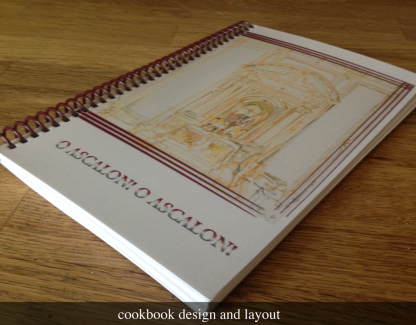 Spiral bound layout of cookbook for religious organization.