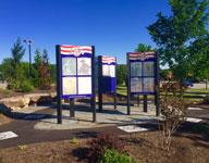 Veteran's memorial layout and design large informational kiosks